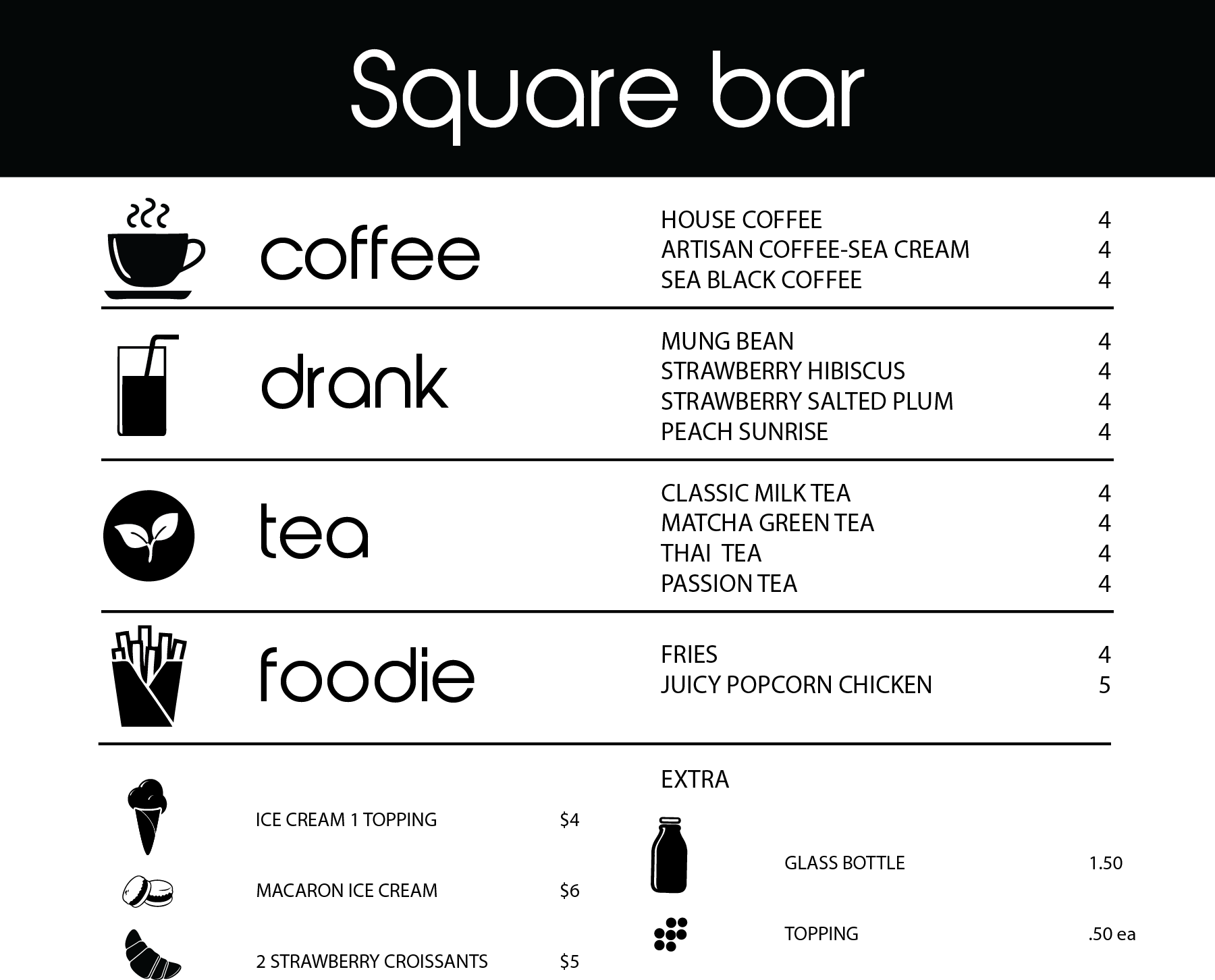 Menu Square Bar Cafe
